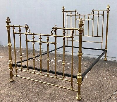 Antique Edwardian All Brass  and Iron Frame Bed (Full Size) Marked H&S