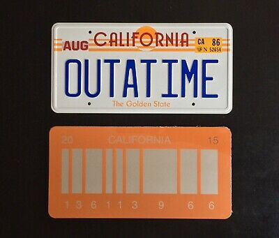 Back to the Future OUTATIME and Back to the Future BARCODE License plate 2 Pack