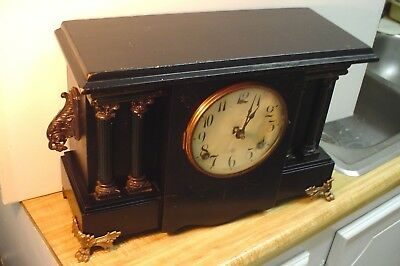 Antique Gilbert Franklin Black Mantel Clock 8 Day Normandy Chime