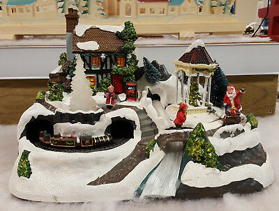 Premier Led Christmas Village Snow Scene with Train 31cm LB178526P - Xmas