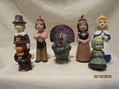 Lot of 7 Vintage GURLEY Holiday Candles/Unused/Indians/Turkey/Pilgrims/Pre-owned