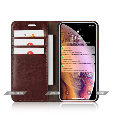 iPhone Xs Max Case Magnetic Flip Leather Wallet Card Holder Stand Knock Cover XR