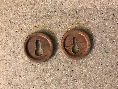 """Pair of Round Carved Wood Key Hole Cover Escutcheon 1 1/8"""""""
