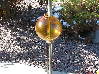 Fat Dark Amber 4.5 Inch Round Old Lightning Rod Ball