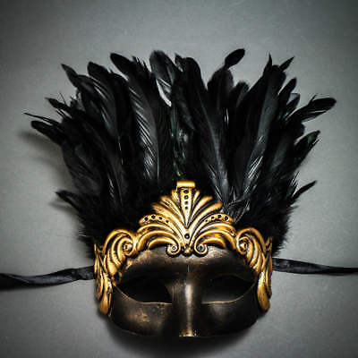 ILOVEMASKS Roman Ancient with Top Feather Black Gold Masquerade Ball Party Mask