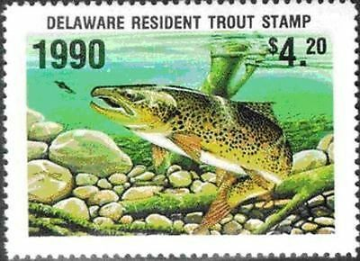 Delaware 1990 Trout Fishing Stamp, MNH VF CV$12