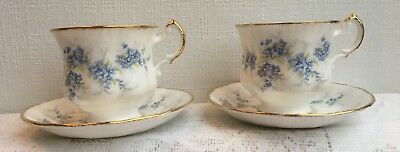 """2 """"Remember Me"""" Forget Me Not Flowers Tea Cup & Saucers by Paragon (41)"""