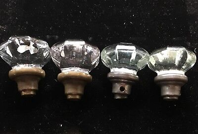 Lot (4) Four Vtg 8 Sided / Point Octagon Crystal Glass & Brass Door Knobs