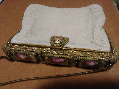 """VINTAGE BEADED PURSE, FRANCE, LIMOGES CABOCHONS , VERY GOOD CONDITION, 6"""" x 7.5"""""""