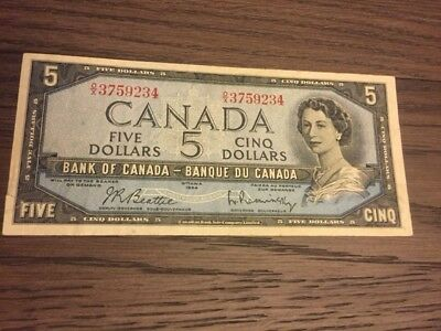 1954 $5 Five Dollar Bill Note WITH FREE SHIPPING TO CANADA