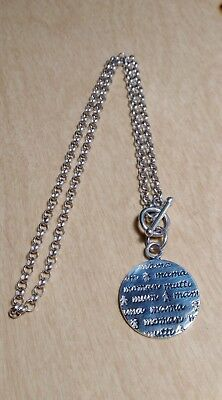 """Sterling Silver """"Mama, Mum, Moman"""" Toggle Necklace 18"""" *1070*"""