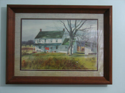 Vintage Water Color Country House Original Frame