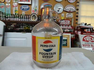 Pepsi Soda Fountain Syrup Jug Paper Label W/cap Raleigh-Henderson Nc Clear
