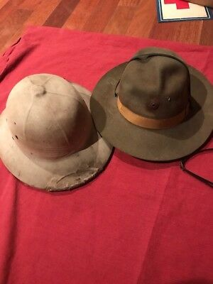 Vintage Boy Scouts of America ? Campaign Hat Brown 7 5/8 wool xtra WW2 hat ? Lot