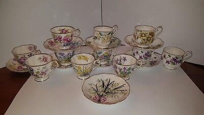 Royal Albert Teacups And Saucers Flower Of The Month Series Rose Poppy Violets