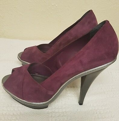 Faith Genuine Suede Leather Peep Toe High Heel Purple Shoes 41, 8 (UK) 10 (USA)
