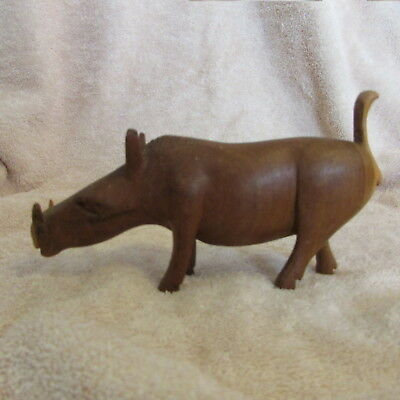 Vintage Carved Wood Warthog Wild Boar Pig