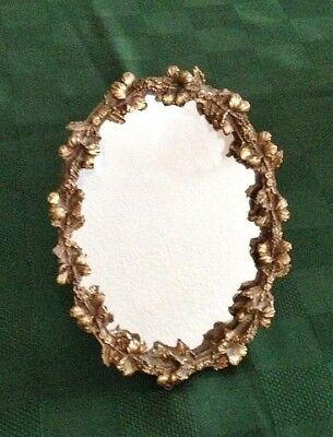 VINTAGE STAND ALONE UNUSUAL OVAL MIRROR with HEAVY ORNATE GOLD HIBISCUS SURROUND