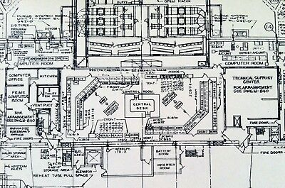 Vintage 1980's Nuclear Reactor Drawing Schematic Plan Decommissioned Obsolete