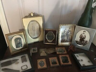 Civil War Collection Of Photos CDV's Tintypes Ambrotypes Buttons And Buckle