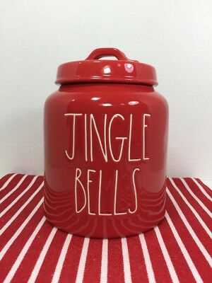 "NEW Rae Dunn 2018 ""JINGLE BELLS"" Canister Cookie Jar Red White Long Letters HTF"