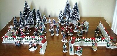 Lot Of Over 100 Pieces Christmas Village Buildings, Figurines, Train, Track, Etc