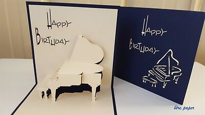 Piano 3D Birthday card pop up greeting card gift card blue