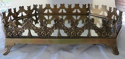 Vintage LARGE BRASS FOOTED VANITY MIRROR TRAY Octagon 15.5 x 10.5 3 Heavy