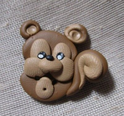 HANDCRAFTED CUTEST POLYMER BROWN TAN SQUIRREL BUTTON EVER  1-1/8th inches (28mm)