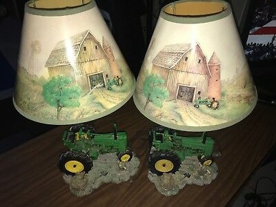 2 JOHN DEERE Table Lamps 1999 Light Desk Lamp Tractor with Shade.