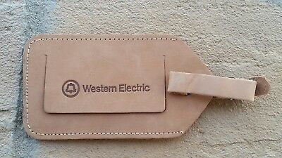 Vintage Western Electric Tan Leather Luggage Tag  Bell Telephone Identification