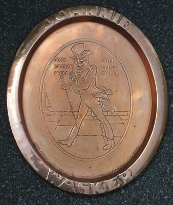 Old JOHNNIE WALKER Large Oval Copper Advertising Tray