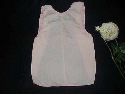 "Vintage Handmade Girl Child Toddler Pink Embroidered LUNCH TIME Apron Bib 19"" L"