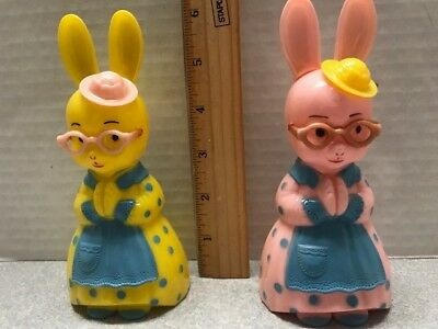 Vintage 50's Knickerbocker Hard Plastic Mrs.and Mrs Bunny Rabbit Rattles