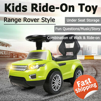 OZ Kids Ride-On Toy Land Rover Style Car-Push Foot-to-Floor Toddler Walker Green