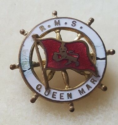 Vintage Cunard White Star R.M.S. QUEEN MARY Cruise Ship Wheel Enameled Flag Pin