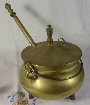 Vintage Very Fine Solid Brass Cape COd Fire Starter Witches Pot Cauldron w-Wand*