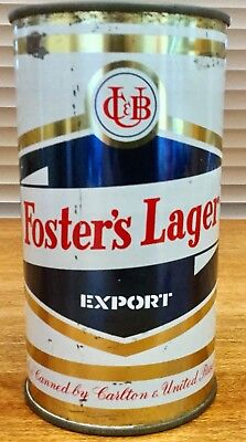 Fosters Lager Export Scroll. 26-2/3 FL.OZ. Flat Top. Steel Beer Can.