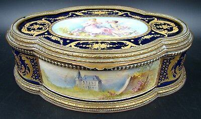 French Sevres Porcelain Cobalt Jewelry Box & Bronze Putti by Rochette, ca 1895