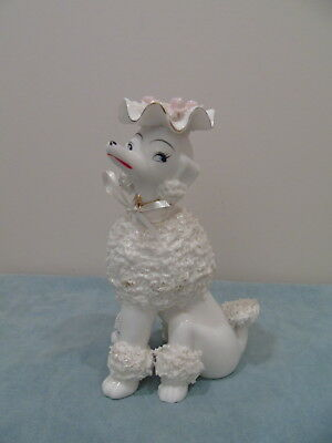 "Vintage Spaghetti Poodle Figurine Wearing Hat With Pink Flowers 8 1/2"" Tall"