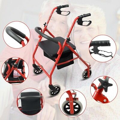 Rollator Rolling Walker Medical Senior Disabled Curved Back Foldable Mobility