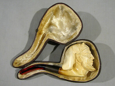 Old Carved Meerschaum Pipe - Devil - With Case