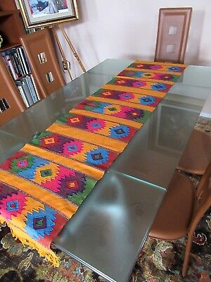 """Mexican Hand-Loomed 100% Cotton Hand Made Fringed Table Runner 62"""" X 15.5""""   #1"""