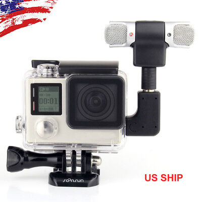 Protective Side Open Skeleton Housing Case + Microphone Kit for GoPro HERO4 3 3+