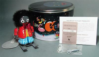 Tin Wind Up Limited Edition Orange Jolly Skiing Man Mint In Tin Case