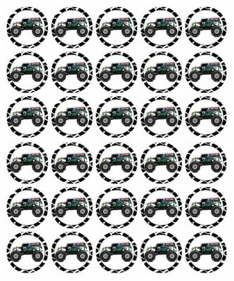 30 Grave Digger Edible Cupcake Toppers Wafer Paper Birthday Cake Decorations