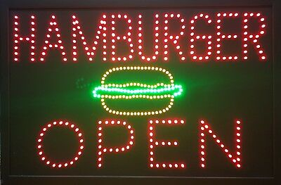 Led Sign, Burgers Open, Fast Food, Good Condition, Never Used