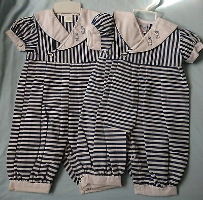 Twins Boys Vintage Sailor Suits Rompers Jumpsuits Size 1 BRAND NEW