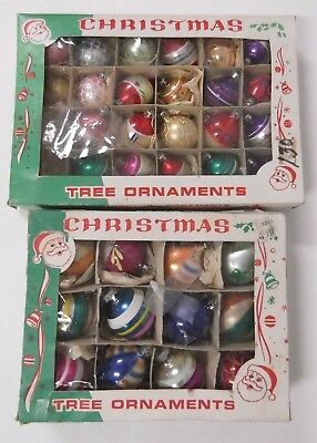 Lot of 34 Vintage Glass Christmas Ornaments Poland Shiny Brite in boxes 1960's?