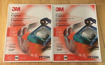 """2 Pack 3M PP2500 TRANSPARENCY FILM FOR COPIERS 8-1/2""""X11"""" 200 Sheets Sealed."""